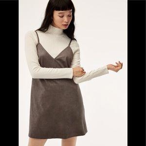 Aritzia Vivienne Dress Grey Suede